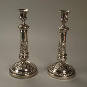 Paire de chandelier en métal argenté